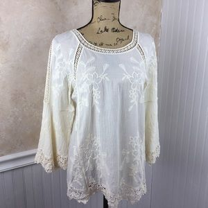 Soft Surroundings Ivory Embroidered Lace Blouse